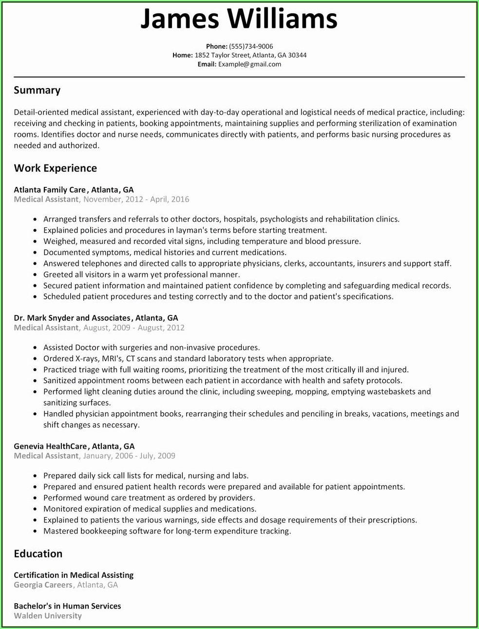 Free Nursing Resume Examples
