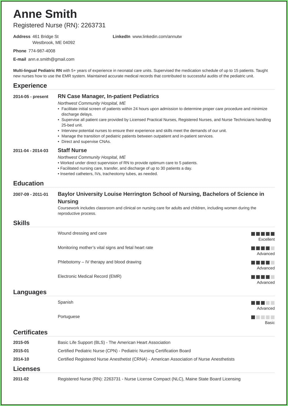 Free Nursing Resume Samples