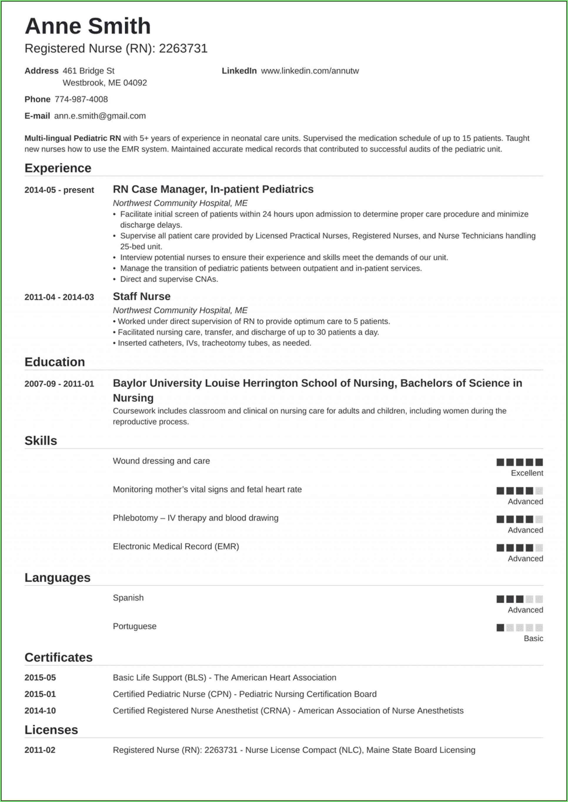 Free Nursing Resume Templates 2019