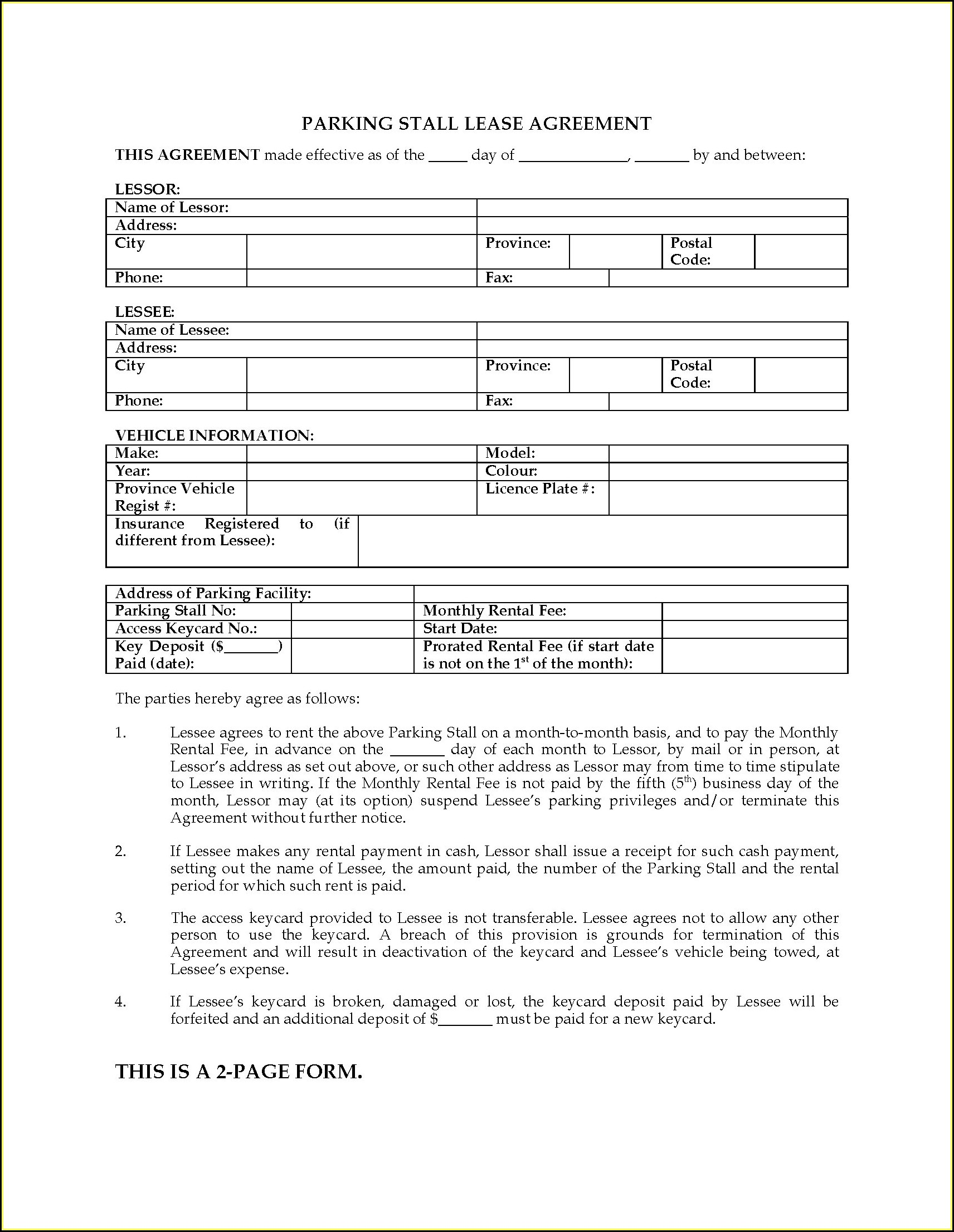 Free Parking Lease Agreement Template