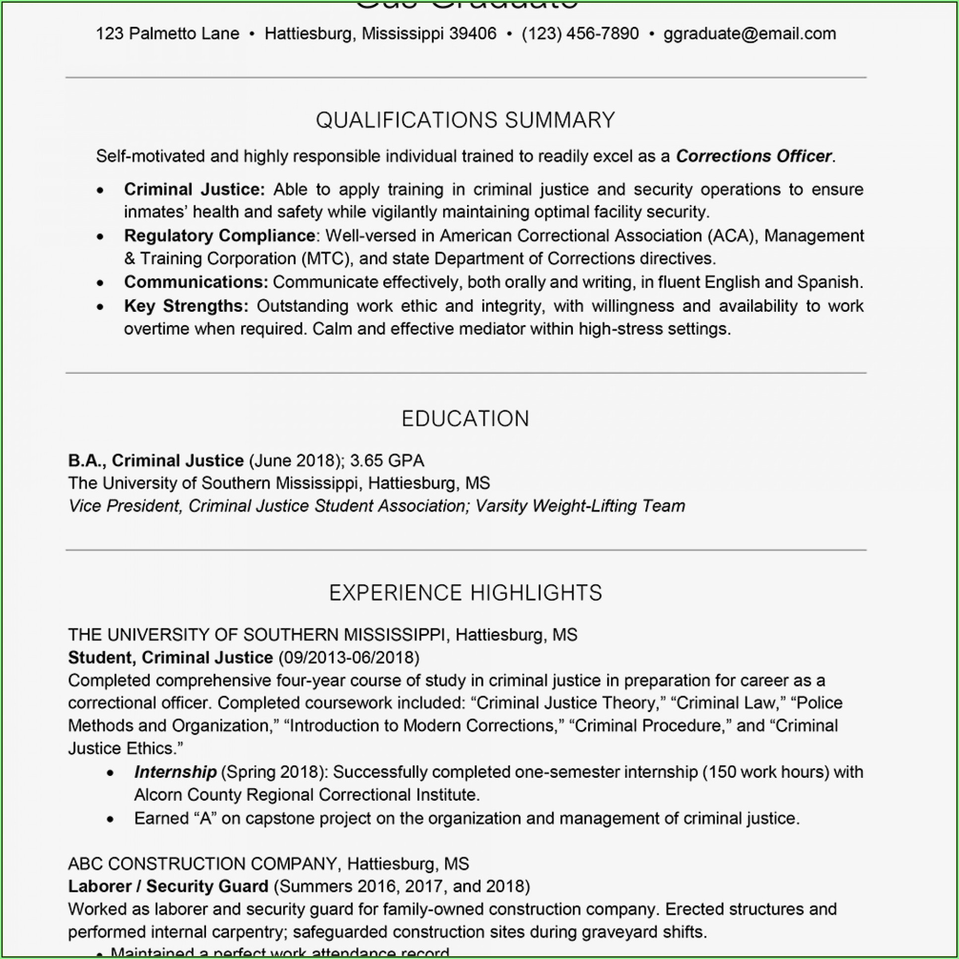 Free Printable High School Resume Template