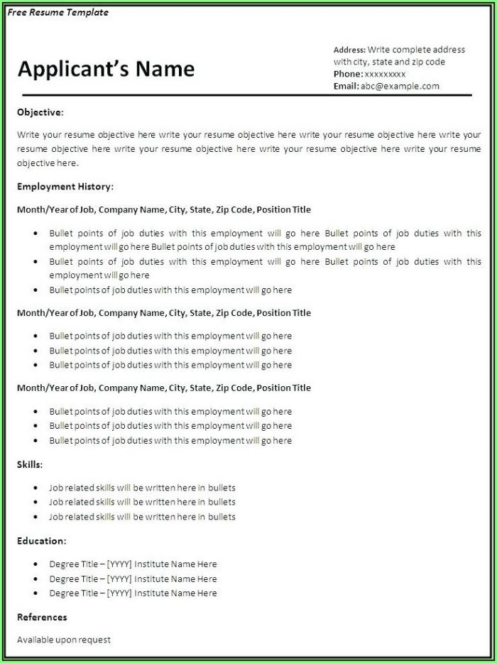 Free Resume Build And Download