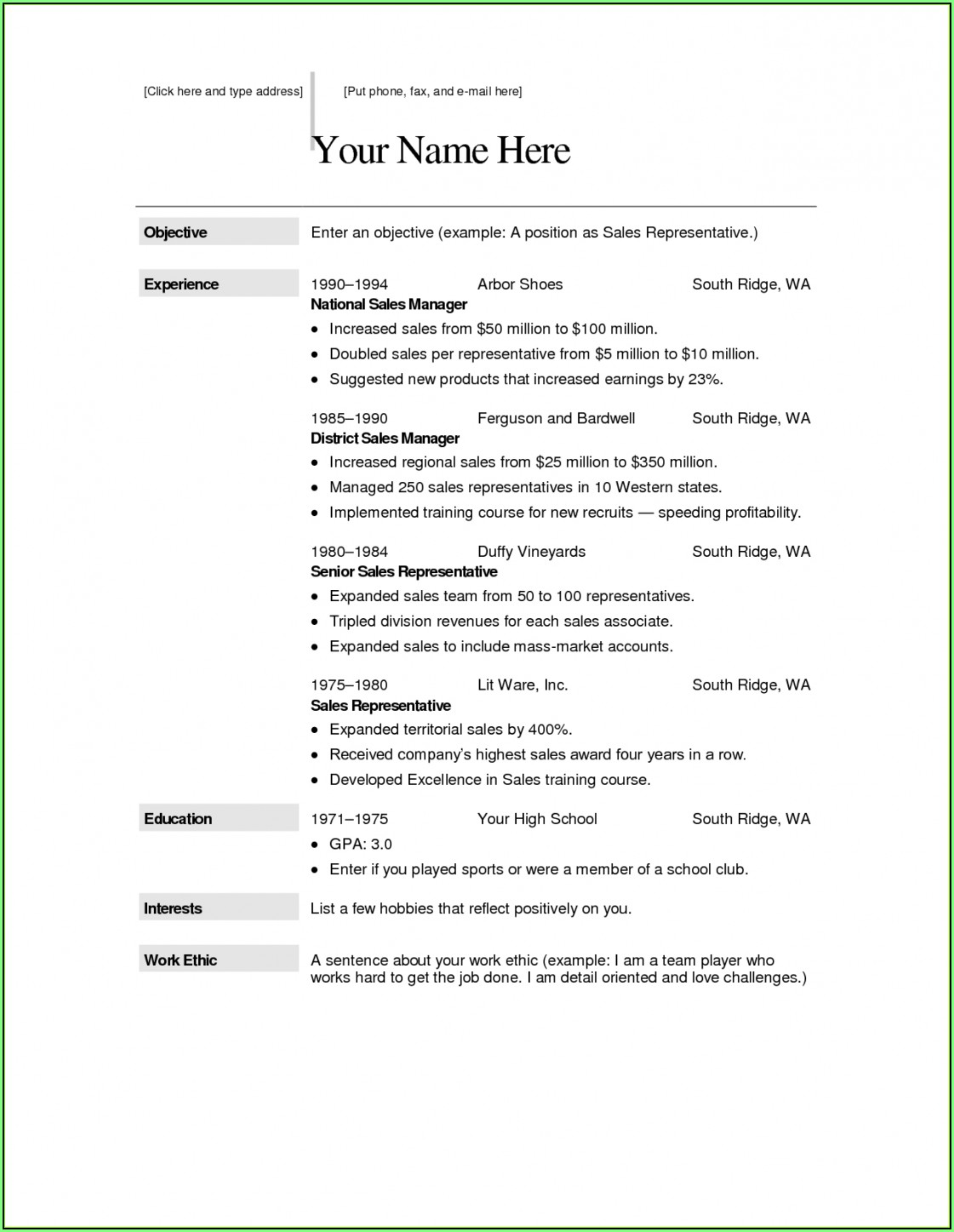 Free Resume Builder Copy Paste