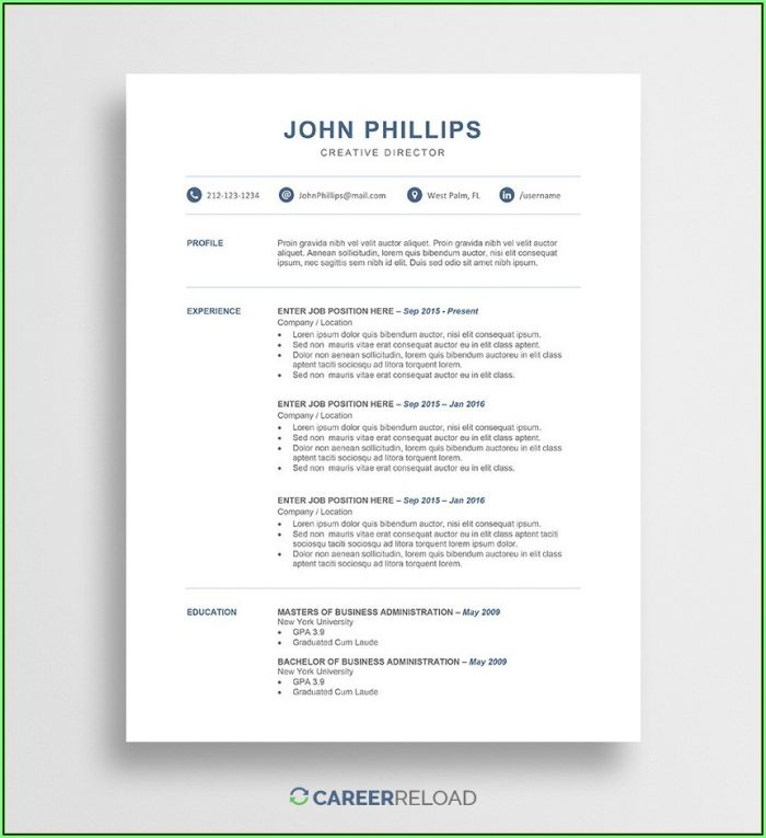 Free Resume Download Template Word
