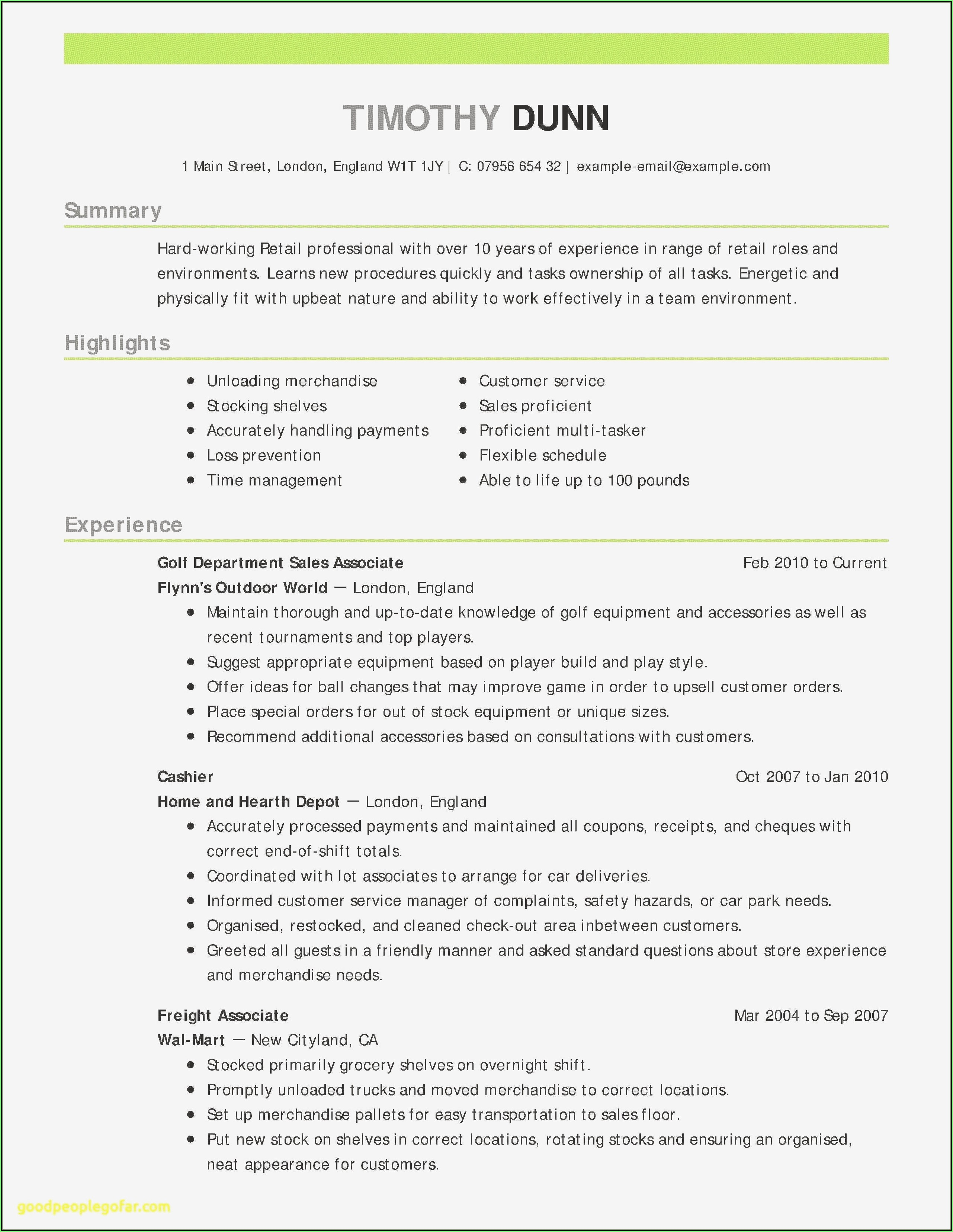 Free Resume Examples For College Students