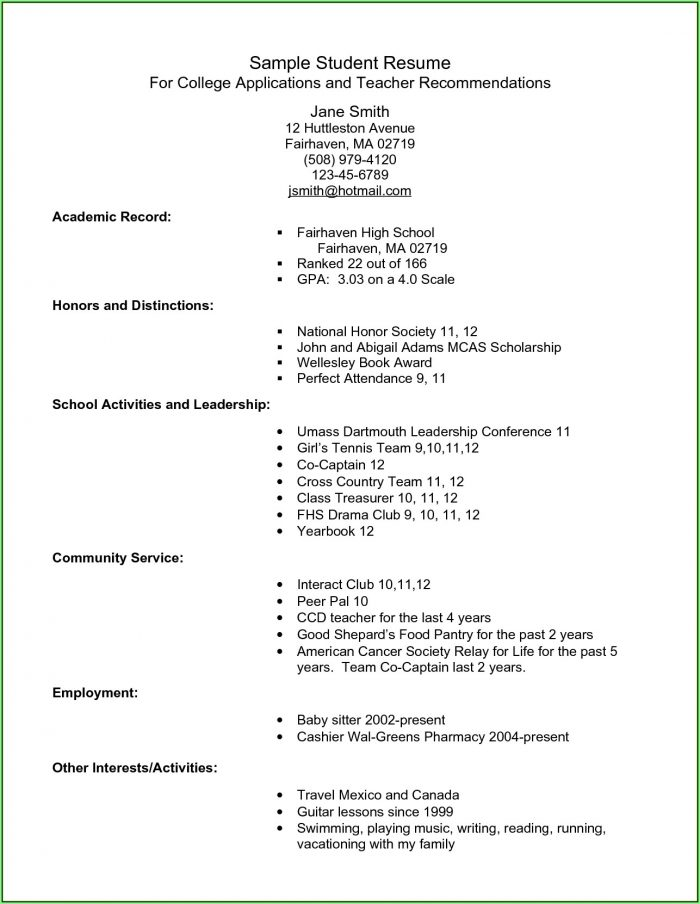 Free Resume For College Students