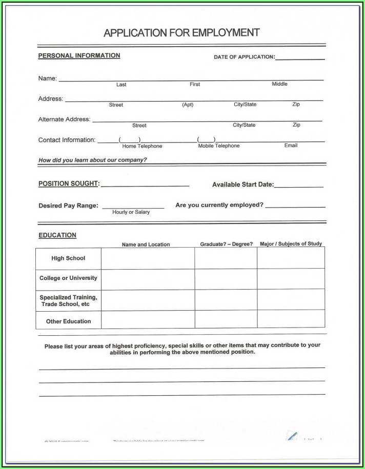 Free Resume Form To Print Out