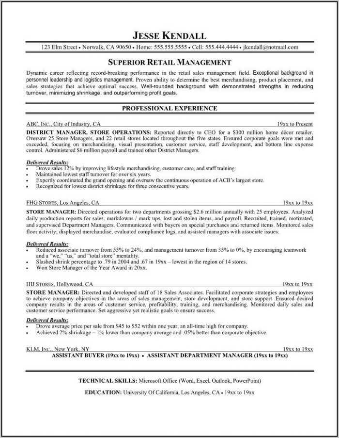 Free Resume Template Retail Sales