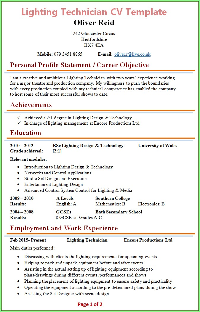 Free Resume Templates For Electricians