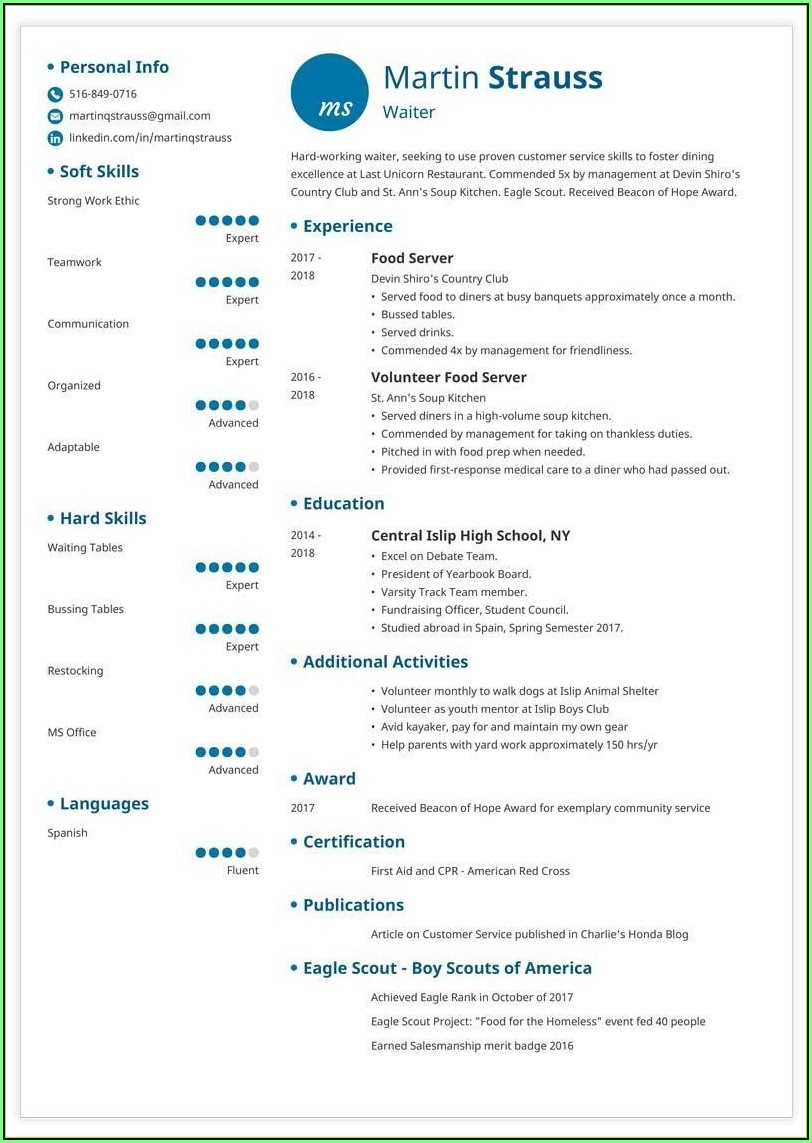 Free Resume Templates For Teenager