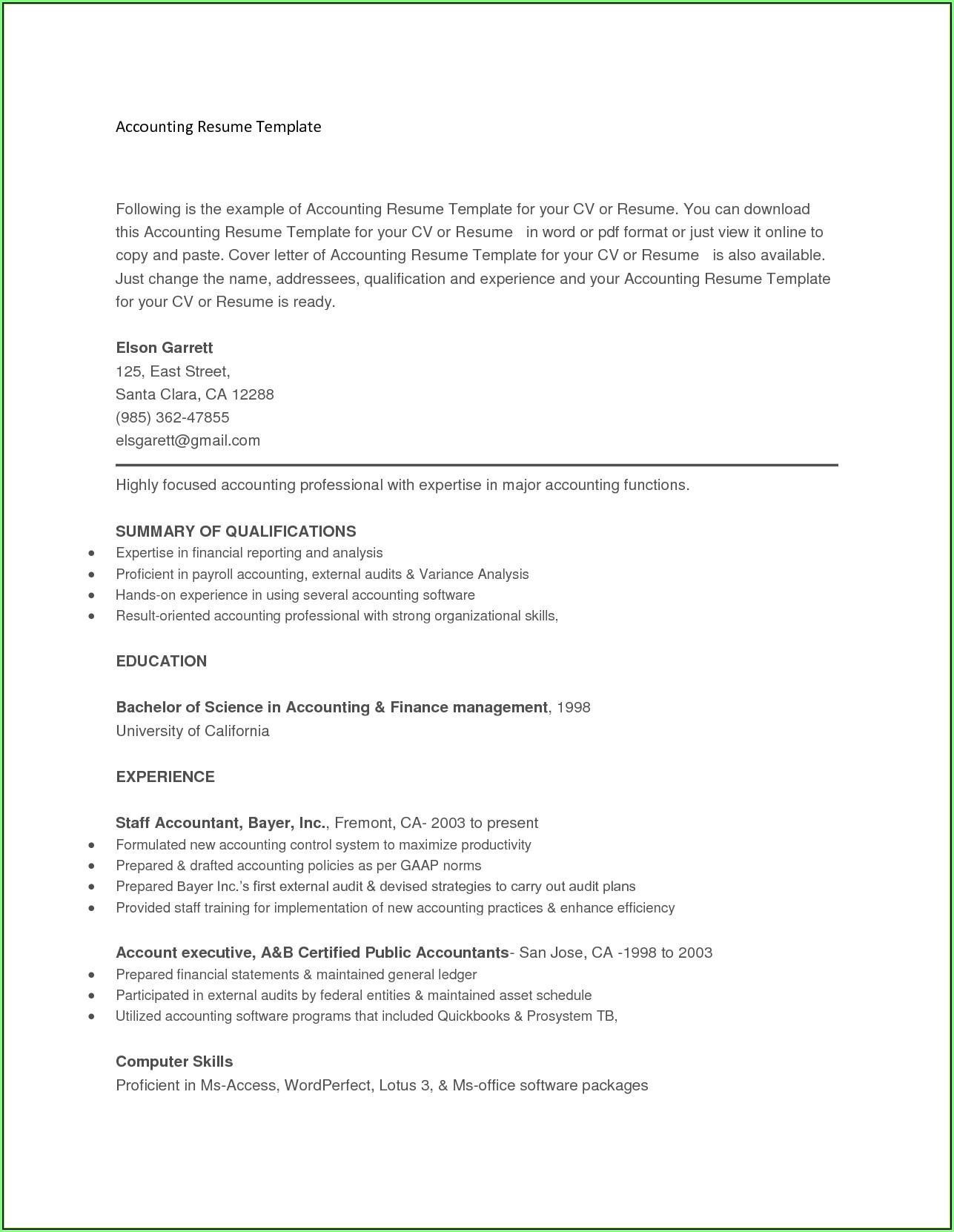 Free Resume Templates That You Can Copy And Paste
