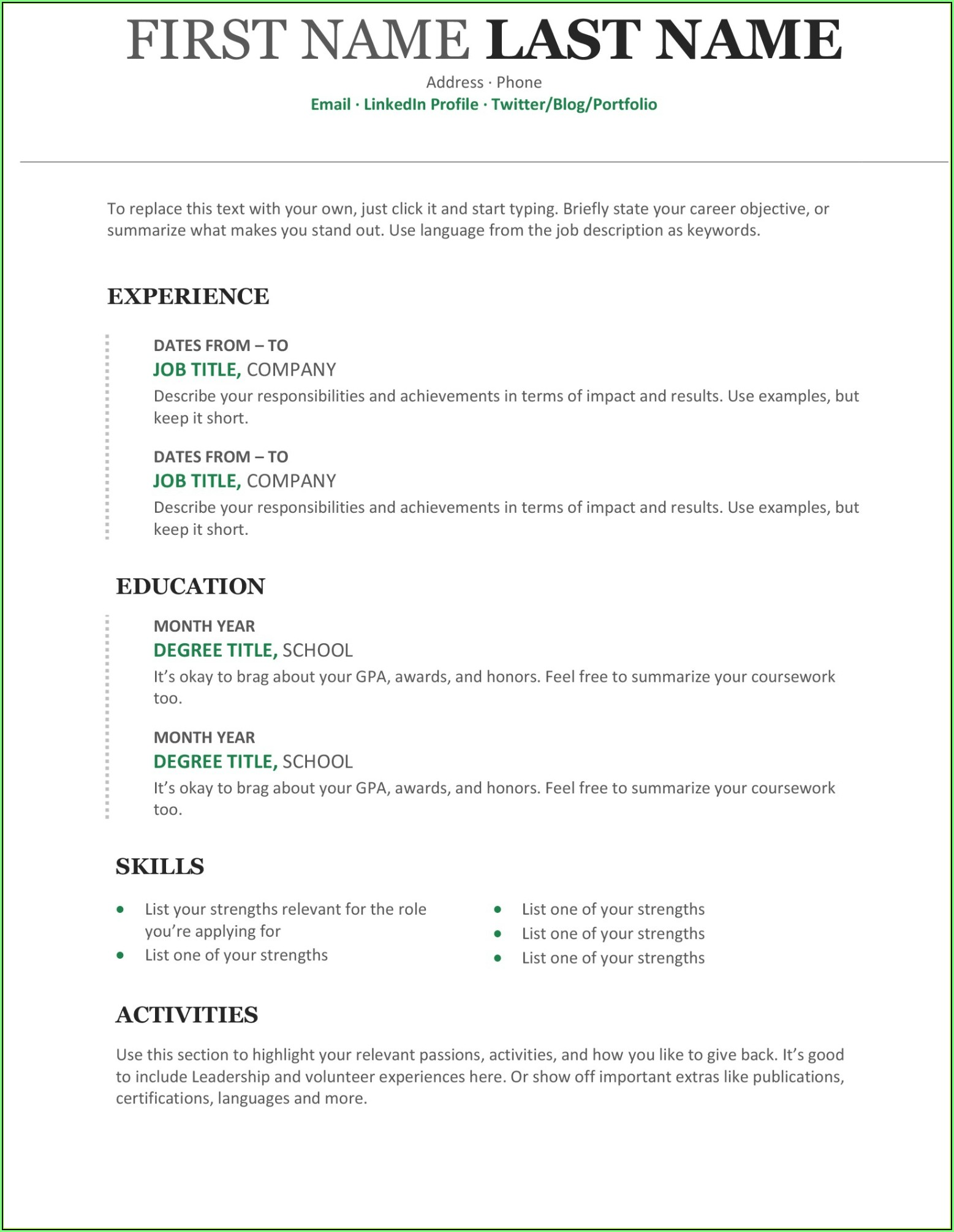 Free Resume Templates Word Document