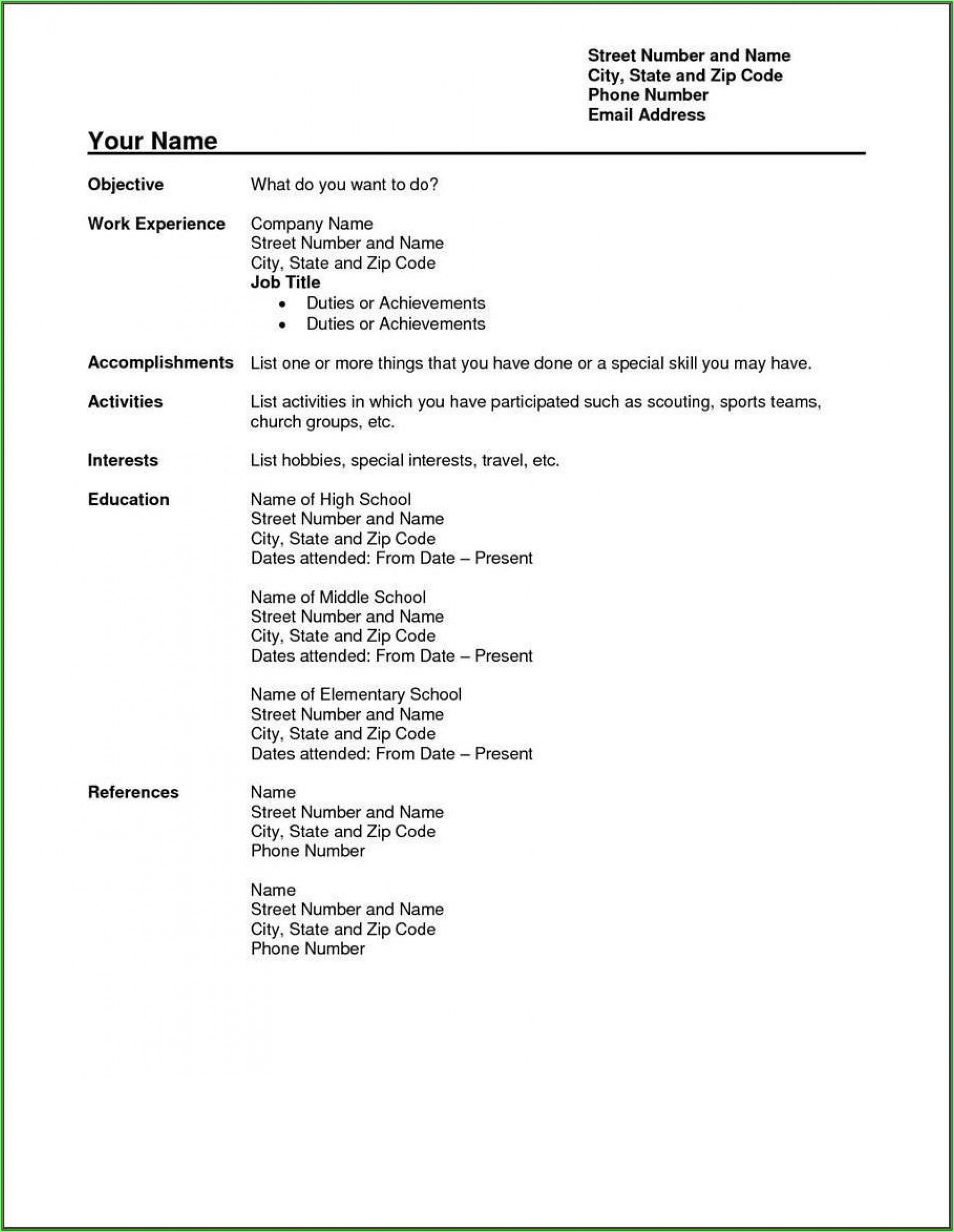 Free Resume Templates Wordpad