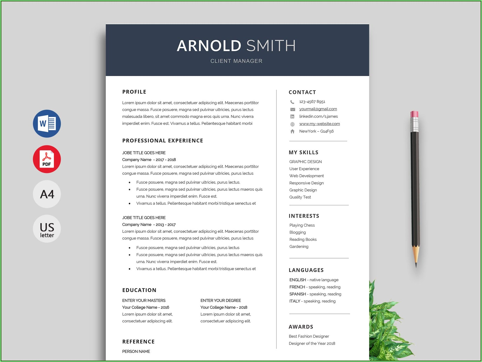 Free Resume Word Templates 2019