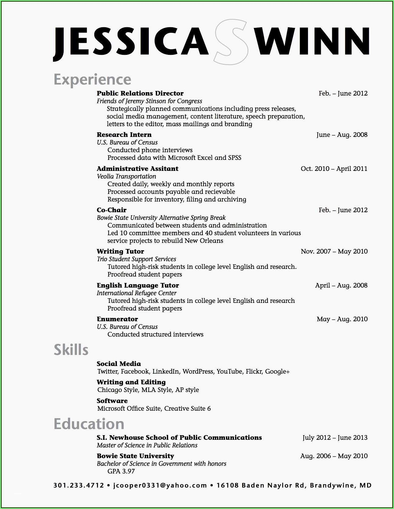 Free Sample High School Resume Template