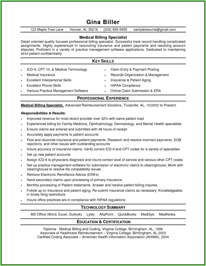 Free Sample Resume For Medical Billing And Coding