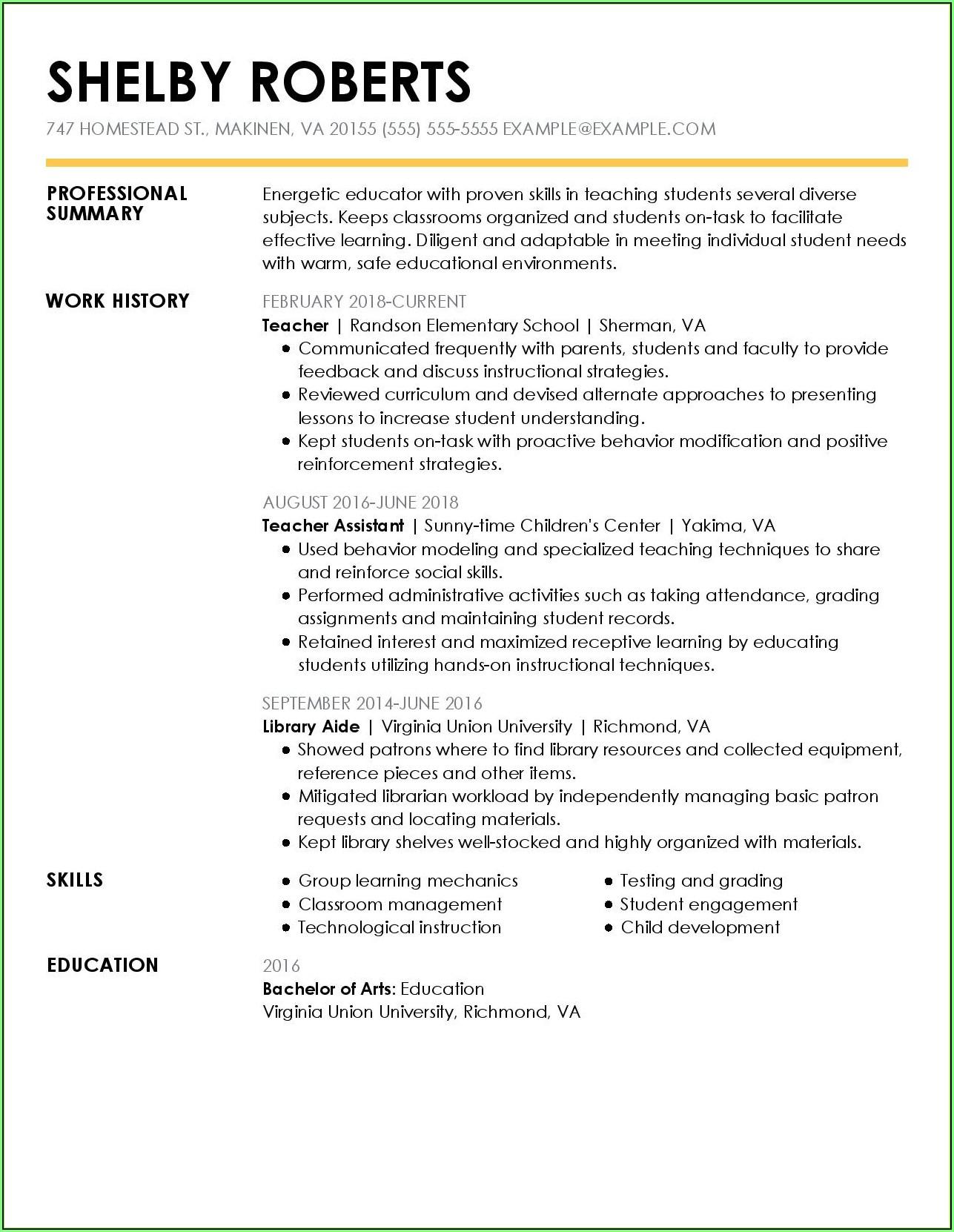 Free Samples Resume Download
