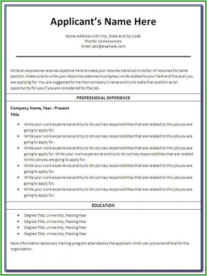 Free Savable Resume Templates
