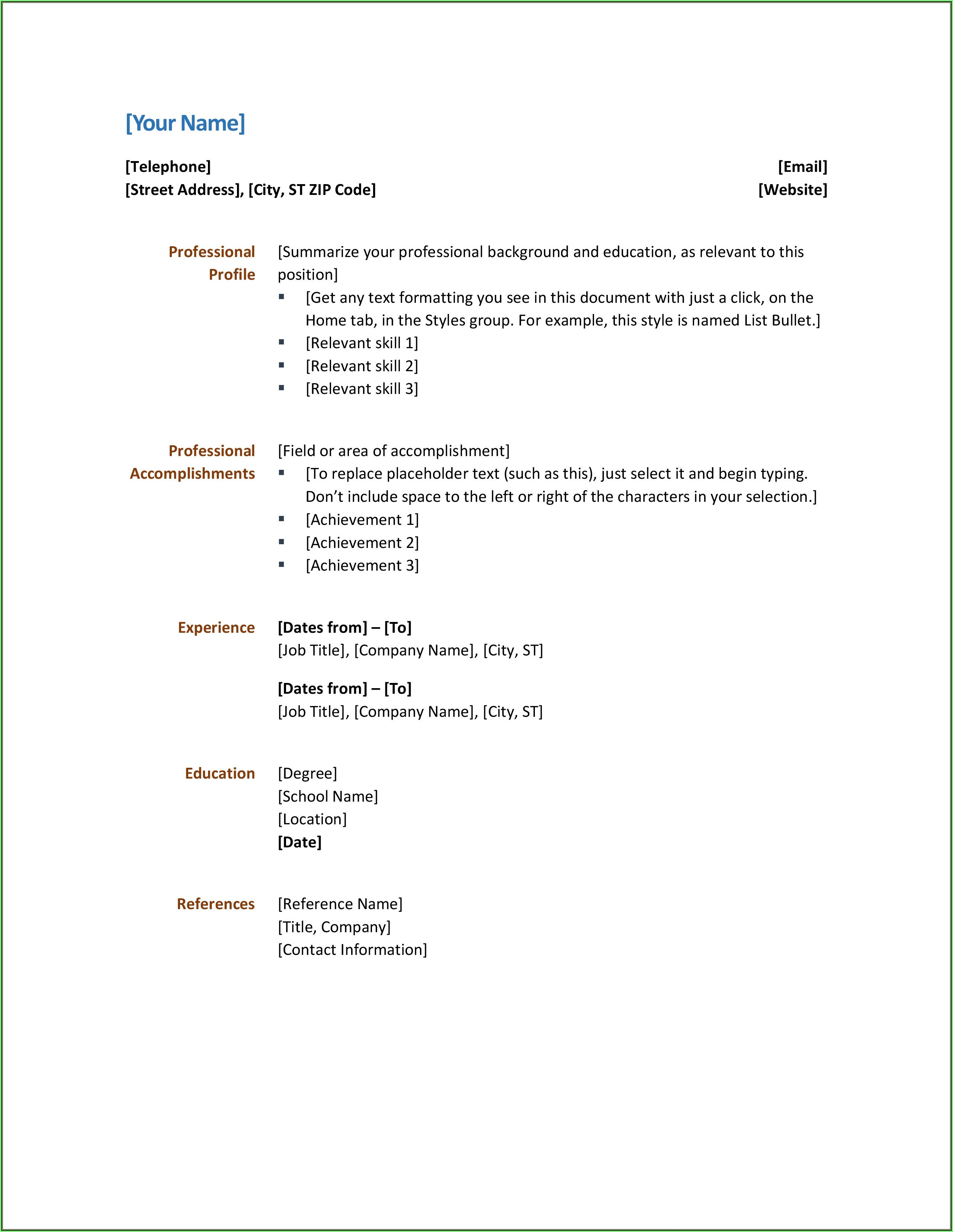 Free Simple Resume Templates Word