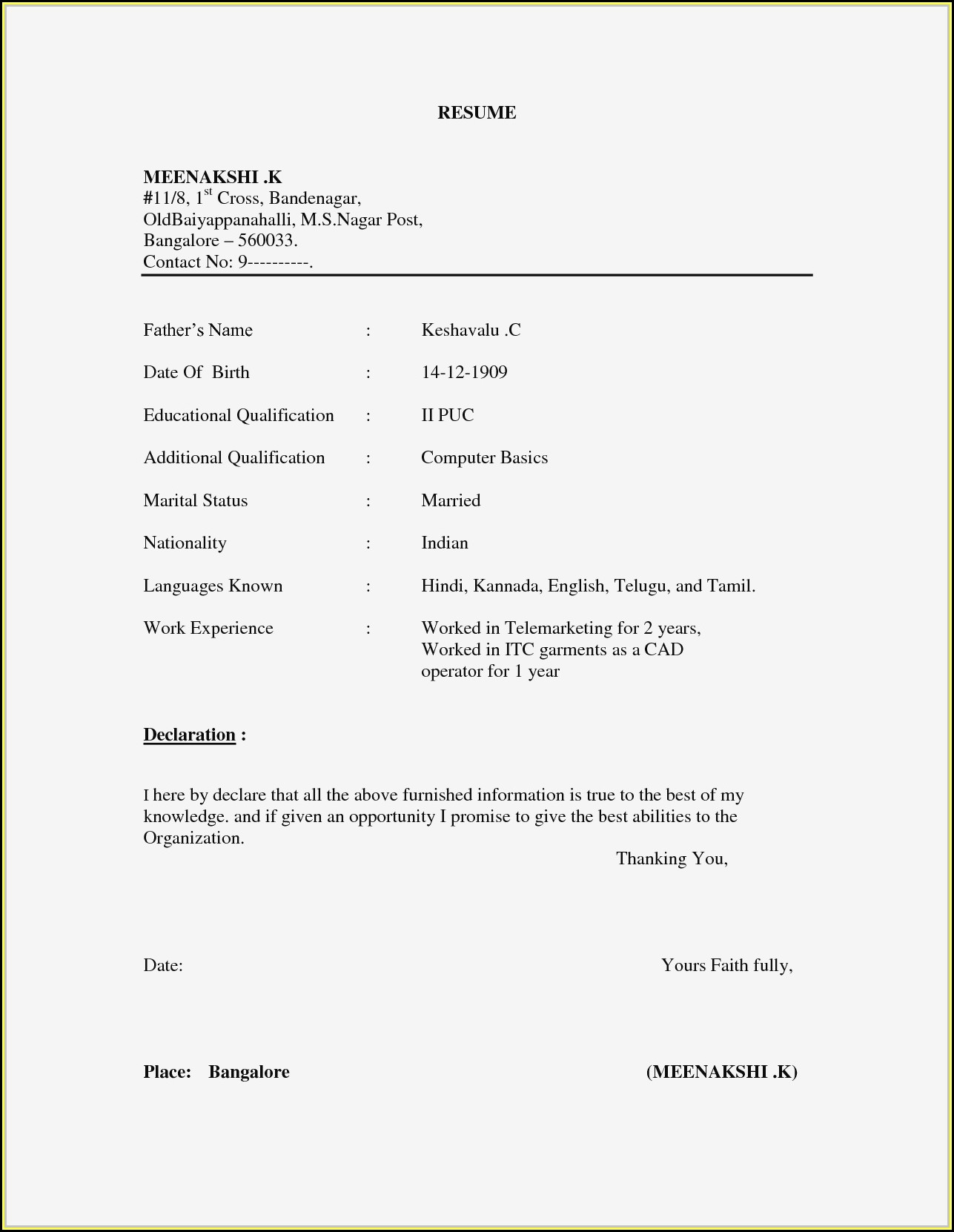 Free Templates For Curriculum Vitae