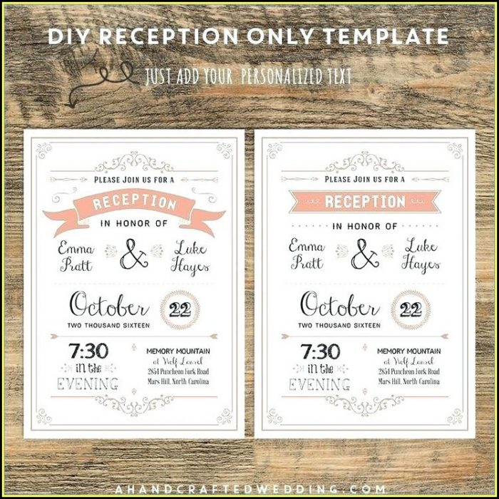 Free Wedding Reception Only Invitation Templates