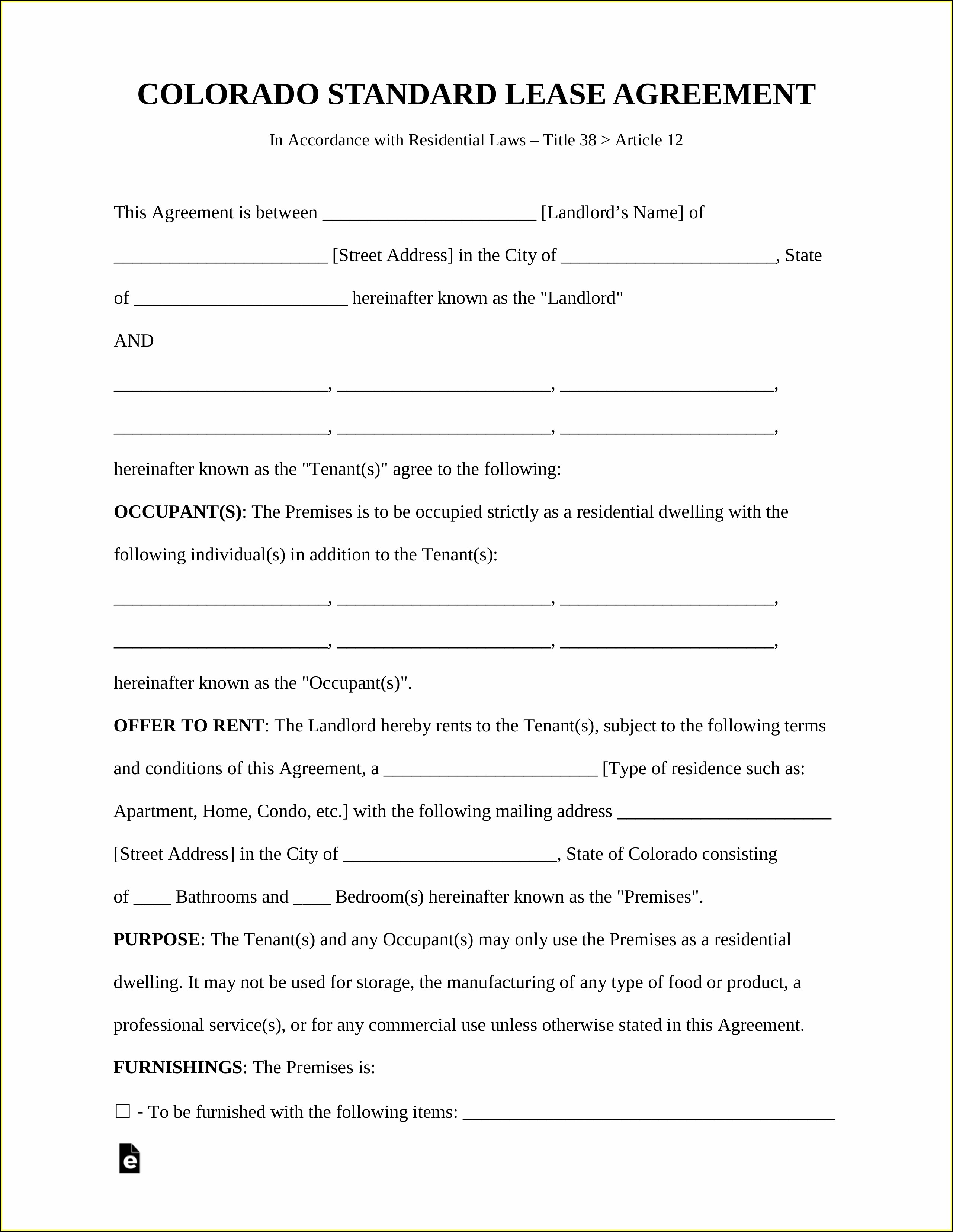 Housing Lease Template