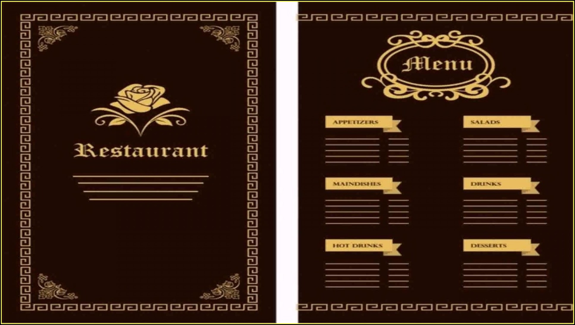 Illustrator Restaurant Menu Template Free