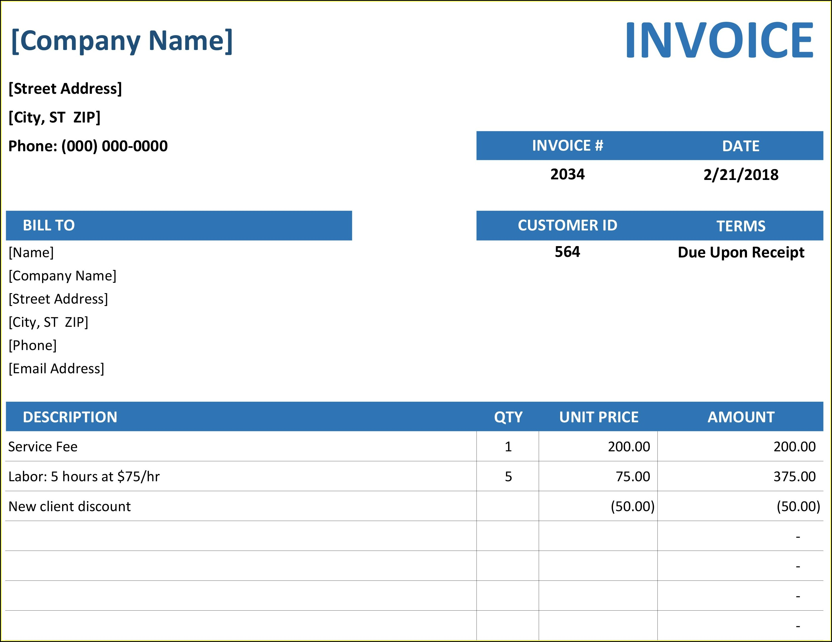 Invoice Template Excel Download Free Uk