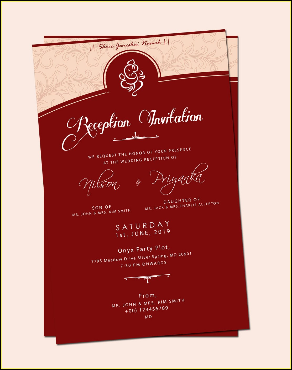 Marriage Reception Card Template