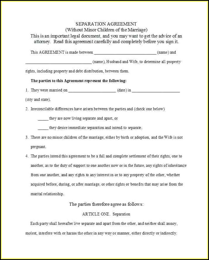 Marriage Separation Agreement Template Australia