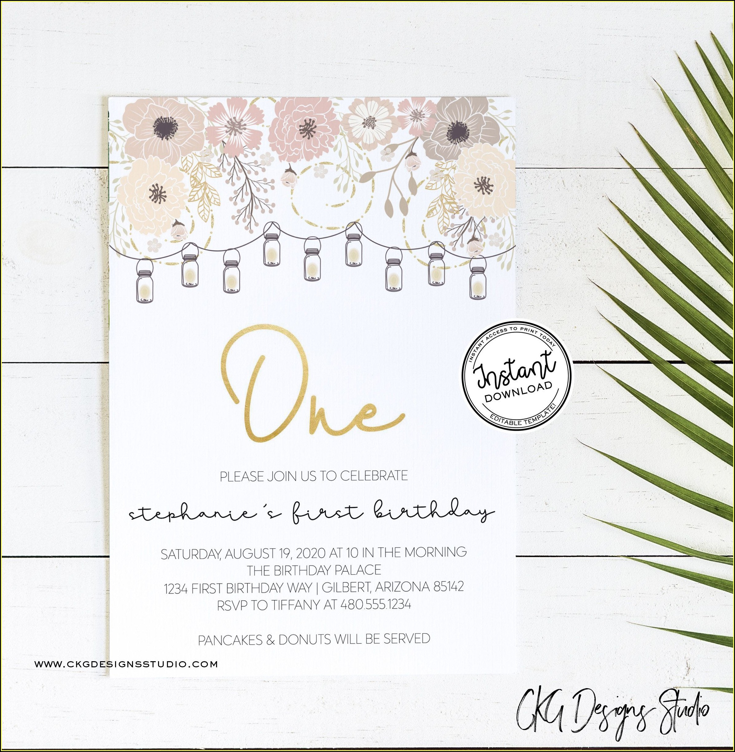 Mason Jar Birthday Invitation Template