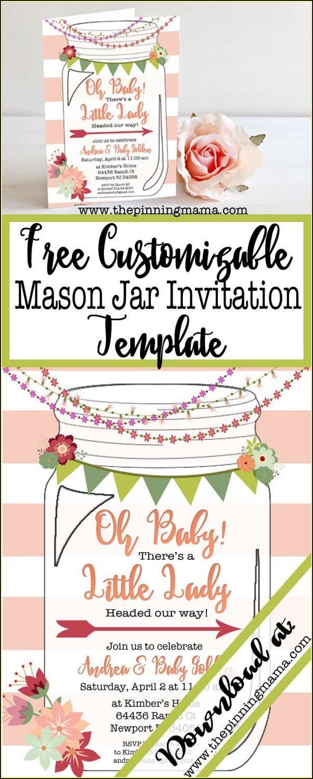 Mason Jar Shower Invitation Template
