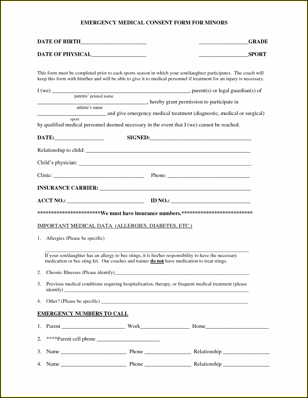 Medical Treatment Authorization And Consent Form Template