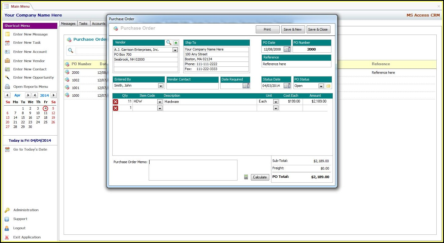 Microsoft Access Crm Database Template Free