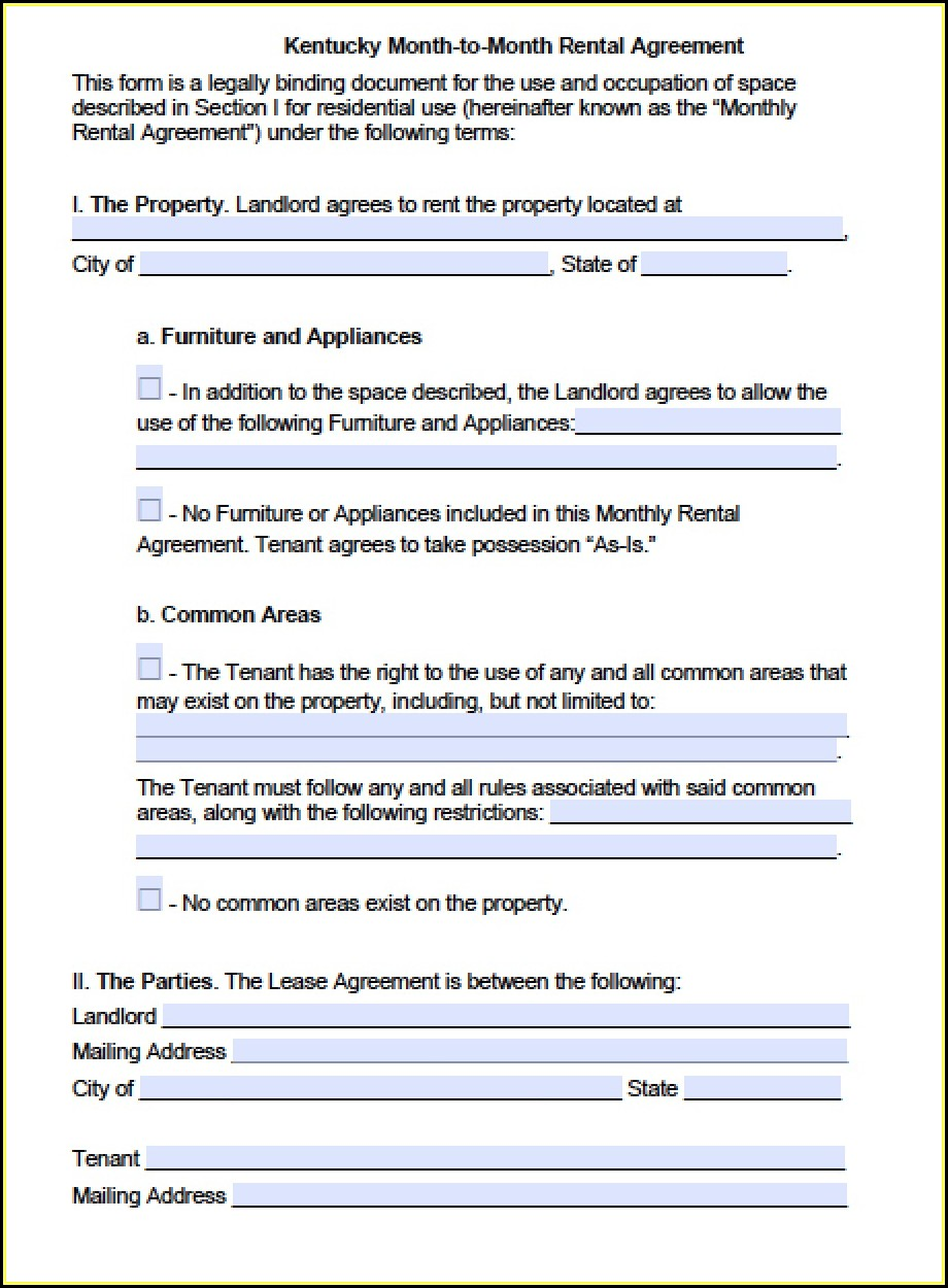 Month To Month Lease Agreement Template Word