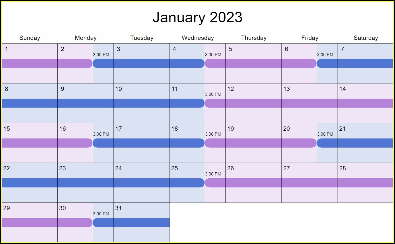 Monthly Shift Rotation Schedule Template