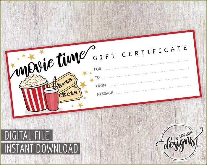 Movie Night Gift Certificate Template
