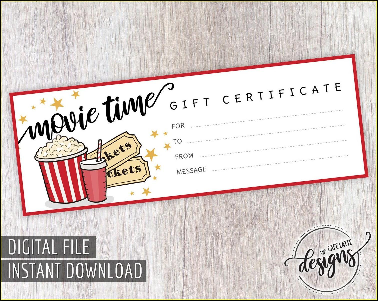 Movie Night Gift Certificate Template