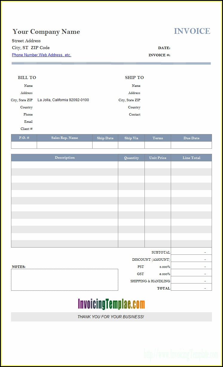 Ms Invoice Template Free