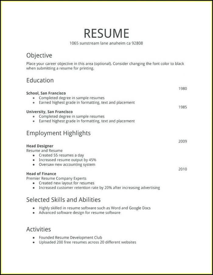 My First Resume Template Free