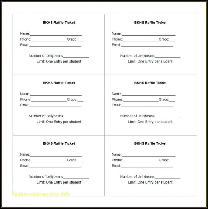 Numbered Event Ticket Template Word