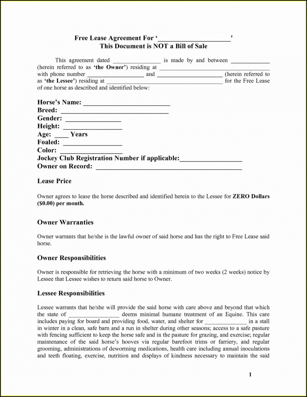 Owner Operator Agreement Template