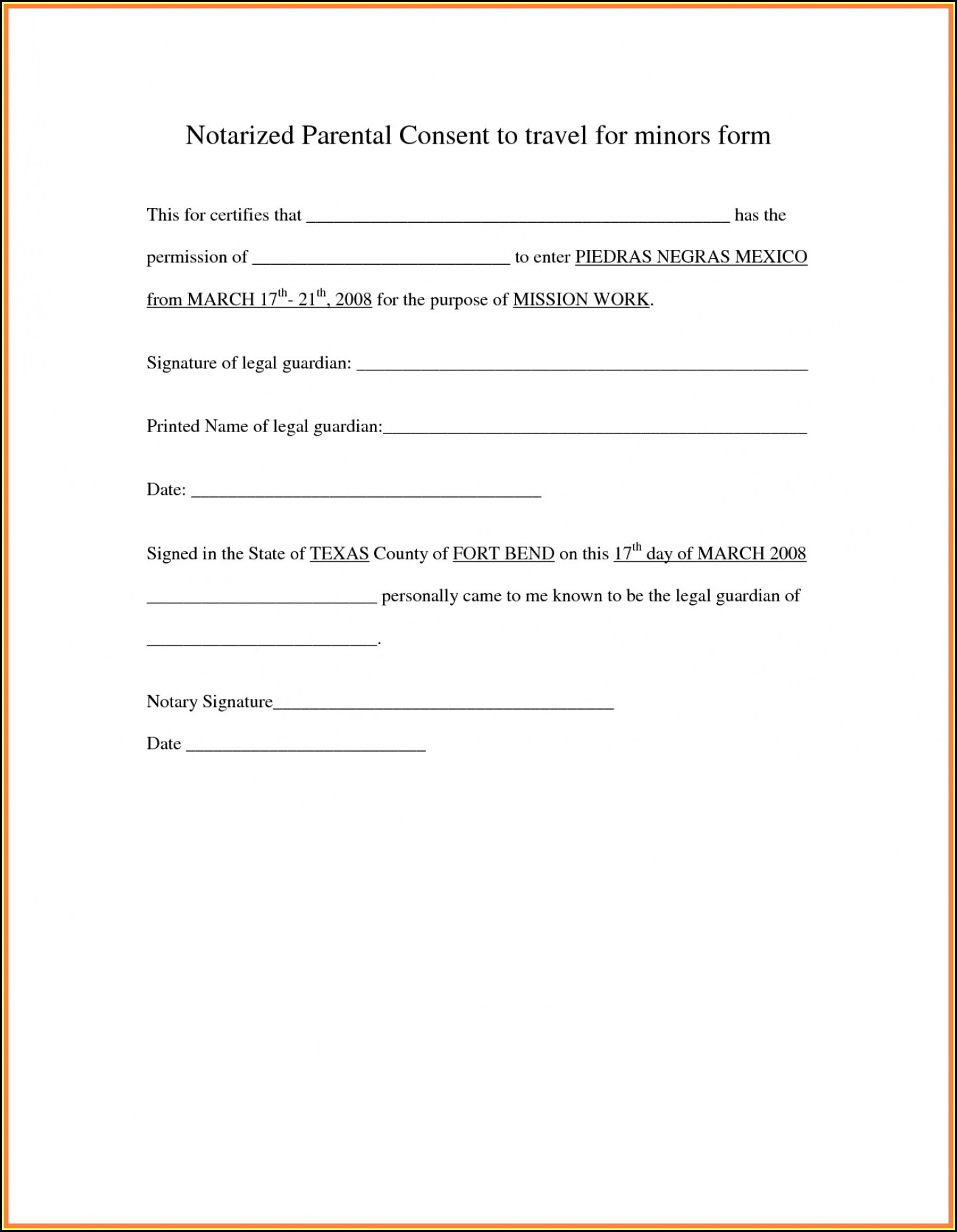 Parental Consent Form Template Travel Uk