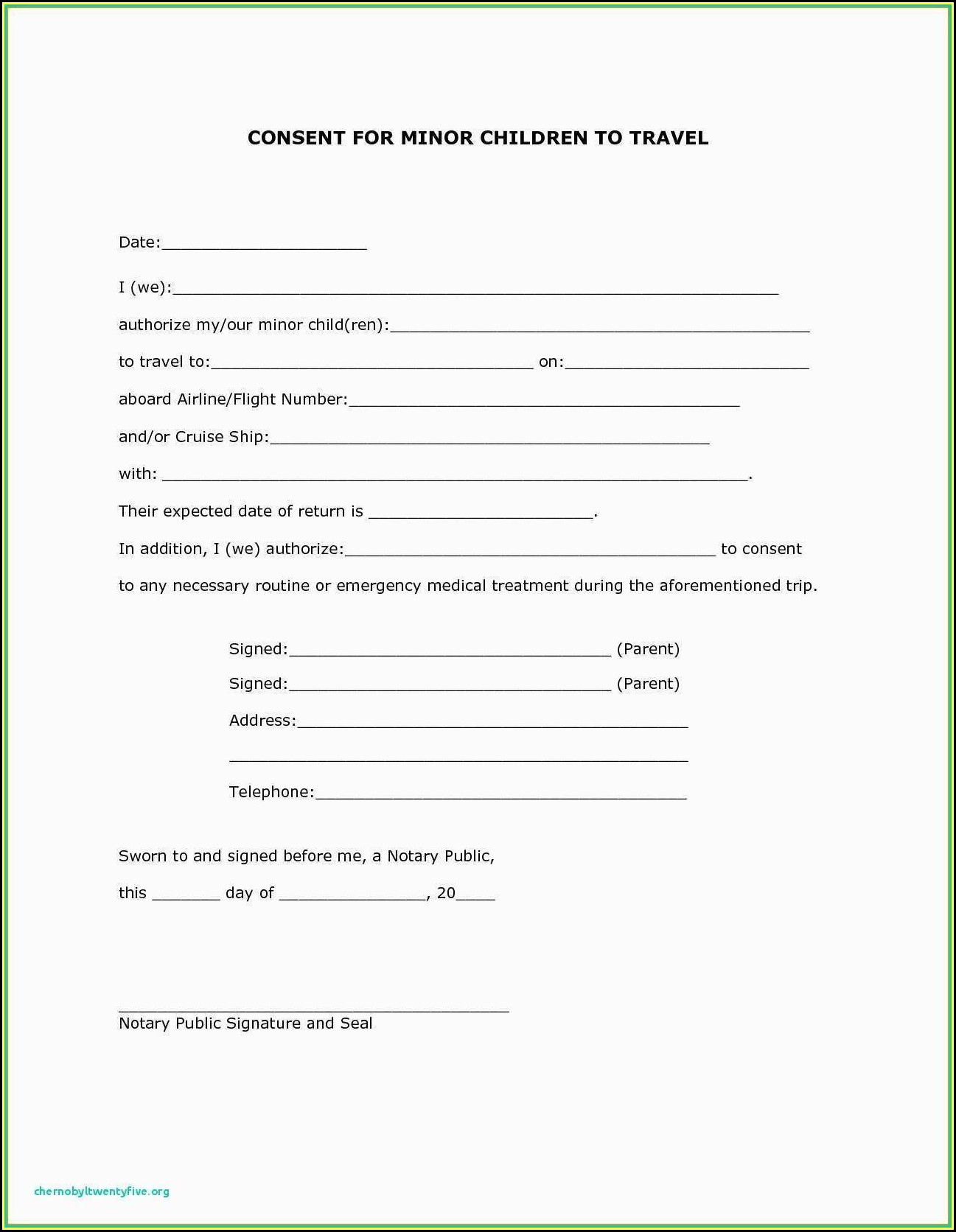 Parental Consent Form Template Travel
