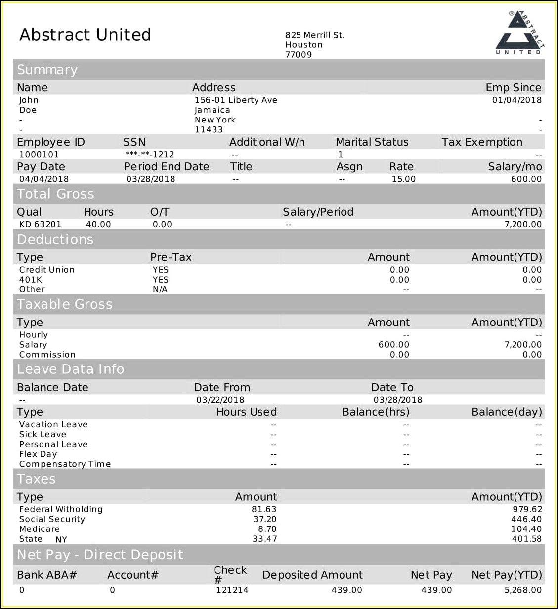 Pay Stub Generator Template