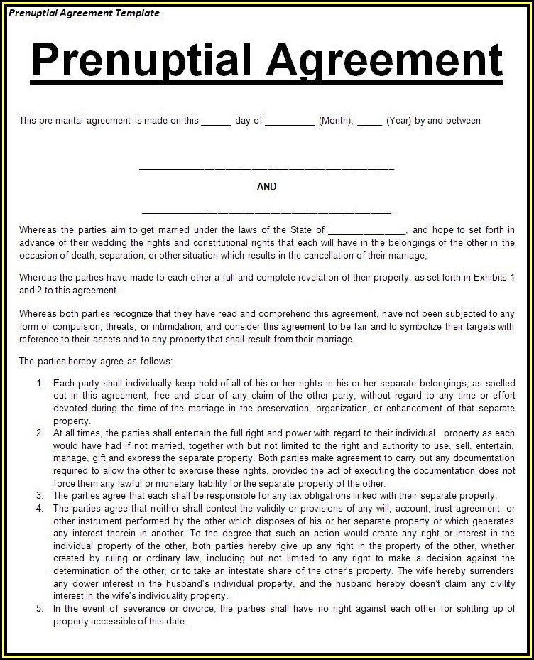 Prenuptial Agreement Florida Form