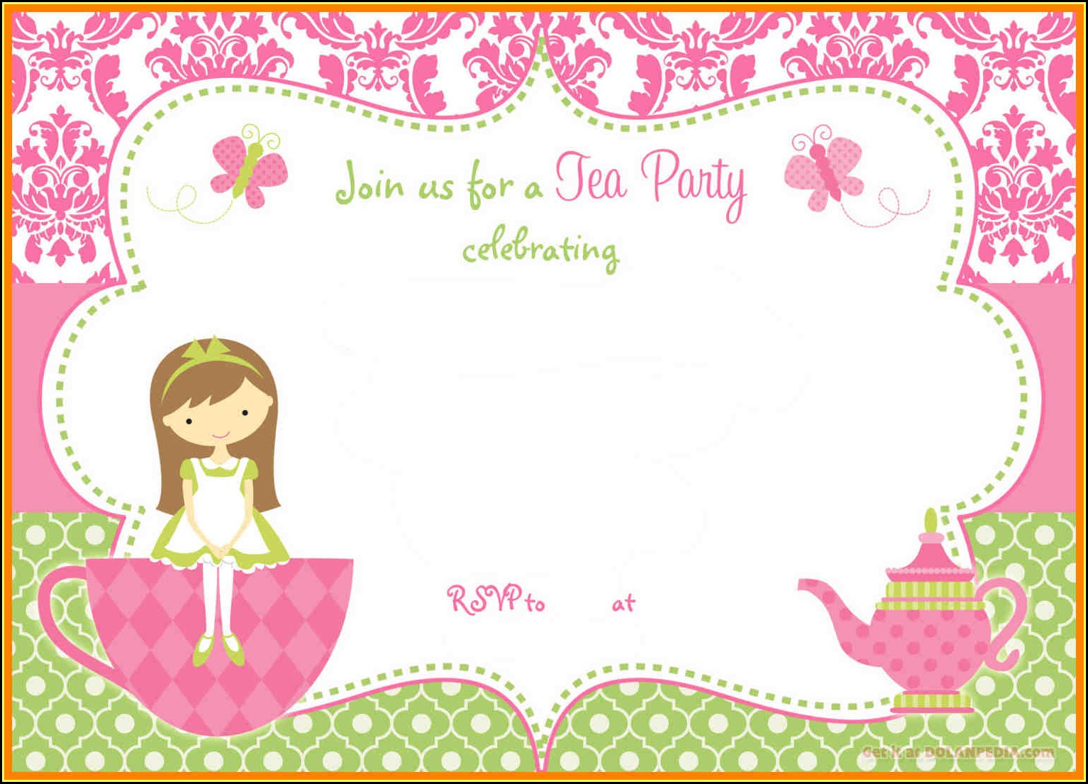 Princess Tea Party Invitation Template