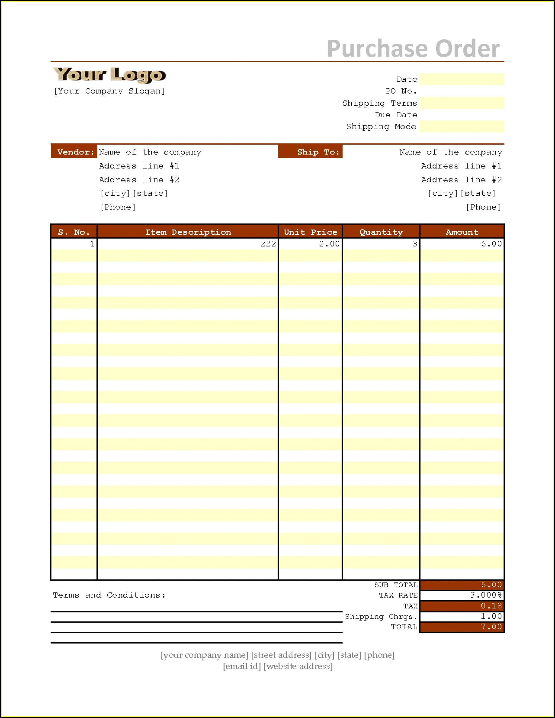 Purchase Order Sample Excel Free Download