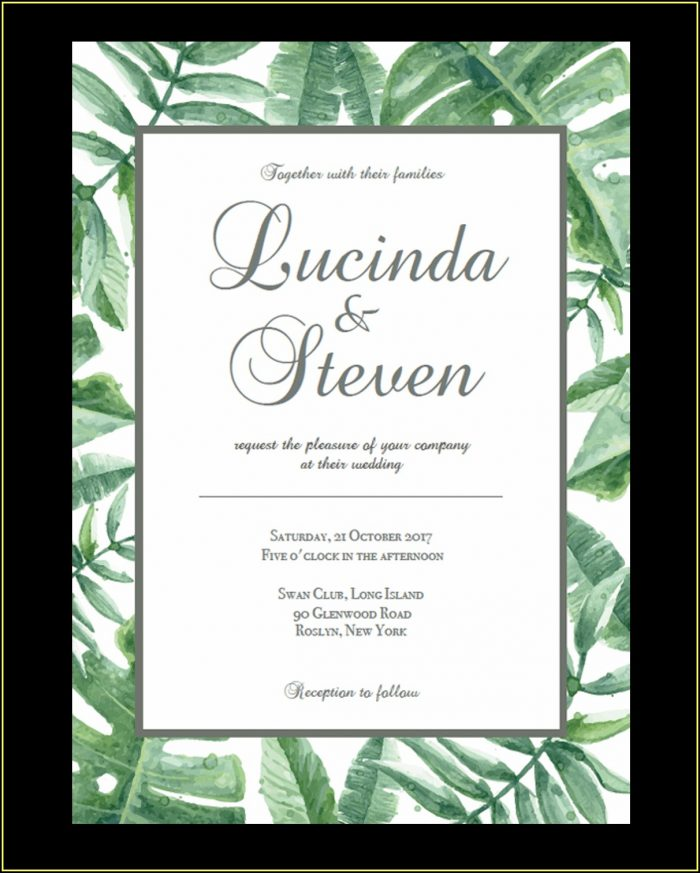 Reception Card Template Free Download