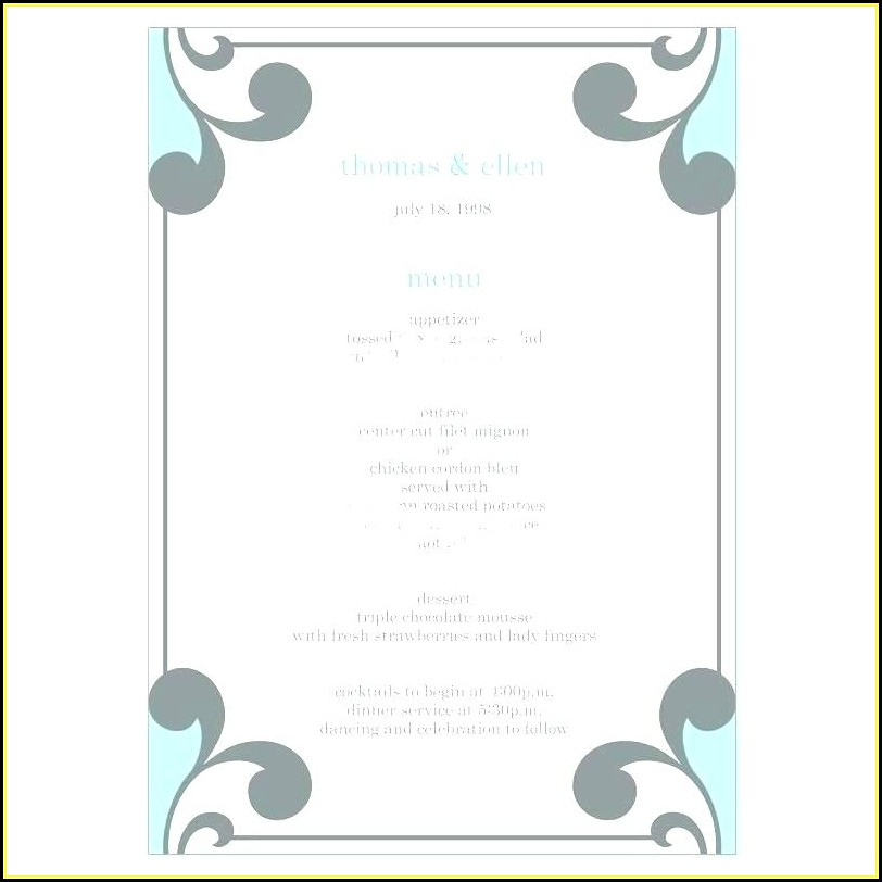 Rehearsal Dinner Menus Templates